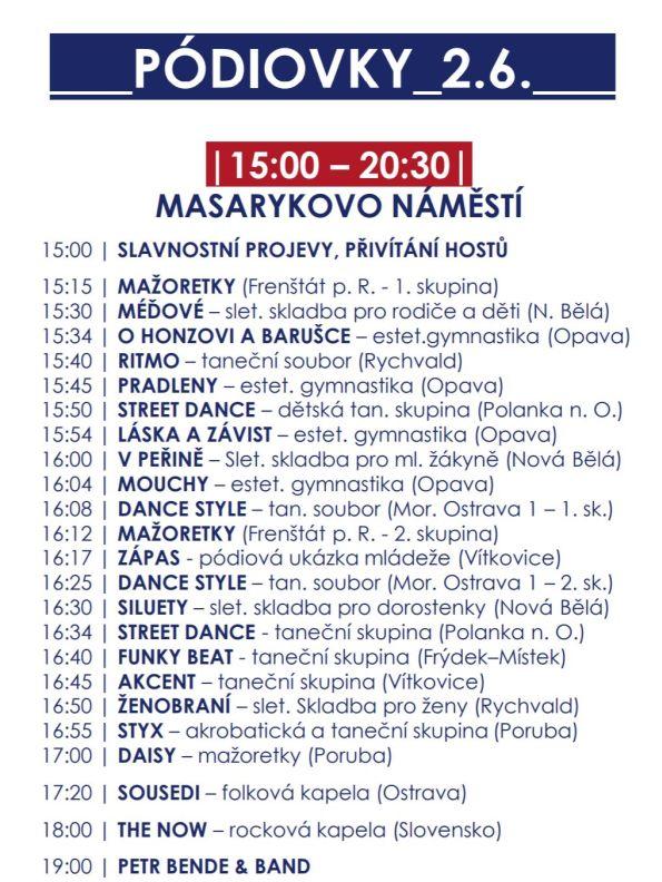 Program krajského sletu na Masarykově náměstí